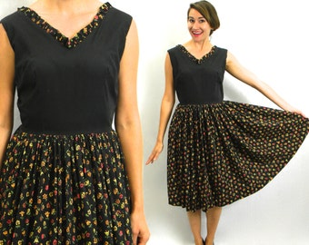 50s Black Cotton Summer Dress | Floral Print Day Dress | Medium