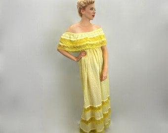 Vintage 70s Long Yellow Peasant Dress | Peasant Maxi Dress