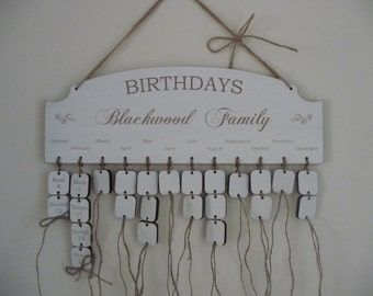 Personalised Family Birthday Board, Wooden Family Birthday Calendar, Anniversary Reminder Plaque, Shabby Chic Family Calendar
