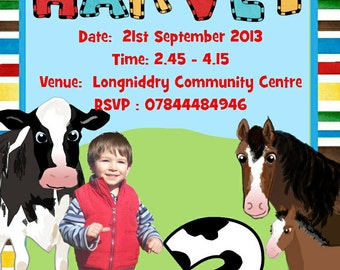 photo invitations party invits birthday farm with photo added pack of 8