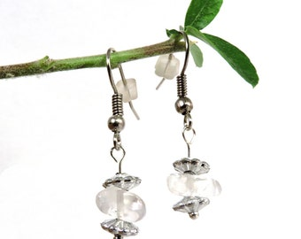 Quartz earrings, rock crystal jewelry, whimsical earrings, clear quartz jewelry, clear crystal earring whimsical jewelry healing crystal zai