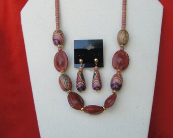 Necklace Set in Shades of Reds