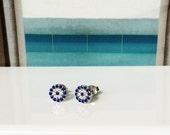 Eye Stud Earrings in Real Solid Sterling Silver With Dazzling CZ • Post Back • Safe to Wet • Priced to Grab • Price is For a Pair