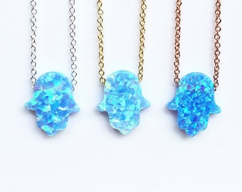 Opal Hamsa Necklaces on a .925 Sterling Silver Chain • Waterproof • Sky Blue Beauty for Everyday • Hamsa Necklace Gift for the Holidays