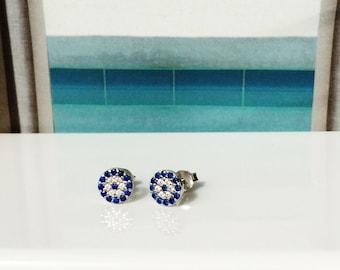 evil eye earrings silver