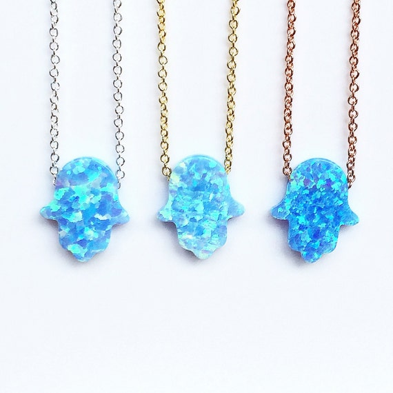 opal hamsa necklaces link chain
