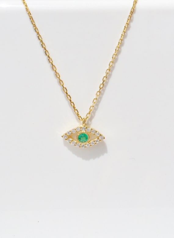Eye necklace, A tiny charm necklace in Gold Plated Sterling Silver and Cubic Zirconia, Very beautiful