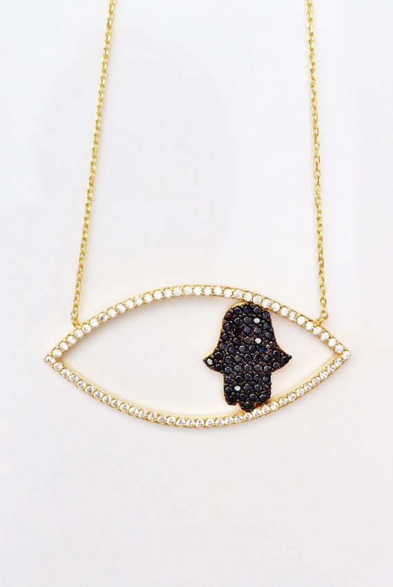 hamsa necklace gold zirconia CLEARANCE!