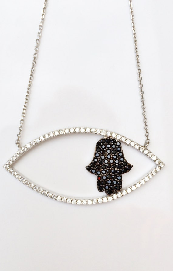 hamsa necklace sterling silver cz CLEARANCE!