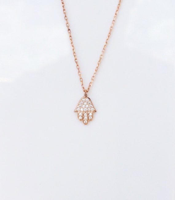 Hamsa Necklace in Sweet Rose Gold and Zirconia • Your Small Hamsa Necklace to leave a Big Impression • Safe to Get Wet Too