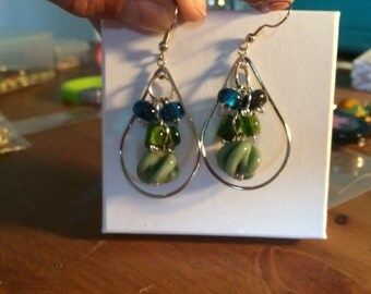 Handmade lamp work bead earrings