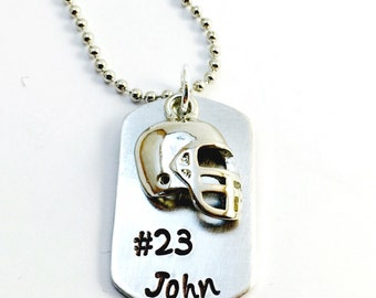 Hand Stamped Football Necklace, Dog tag Football Necklace, Boys Sports Necklace, Football Mom, Boys Football Necklace
