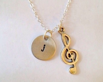 Music Treble Clef Charm Necklace Initial Name Necklace Hand Stamped Necklace  Gift for her