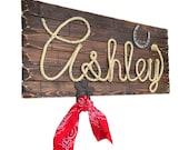 "ASHLEY : 32"" Western Rope Name Sign Cowgirl Theme Room Nursery- Medium Stain Finish- (002)"