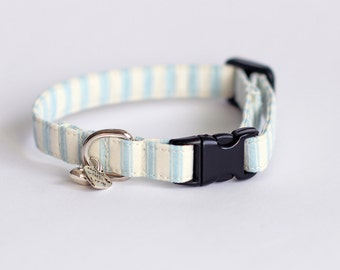 Small Dog or Puppy Collar, Blue and Cream Ticking Stripe , Handmade, soft and comfortable, Made to Measure