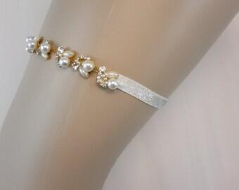 Bridal Garter, Gold Garter,  Wedding Garter, Rhinestone Garter, Pearl Garter, Bridal Garter, Garter, Best Friend Bridal