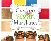 Custom Colorful Organic Moccasins Peach Mary Janes with Dark Gold bow
