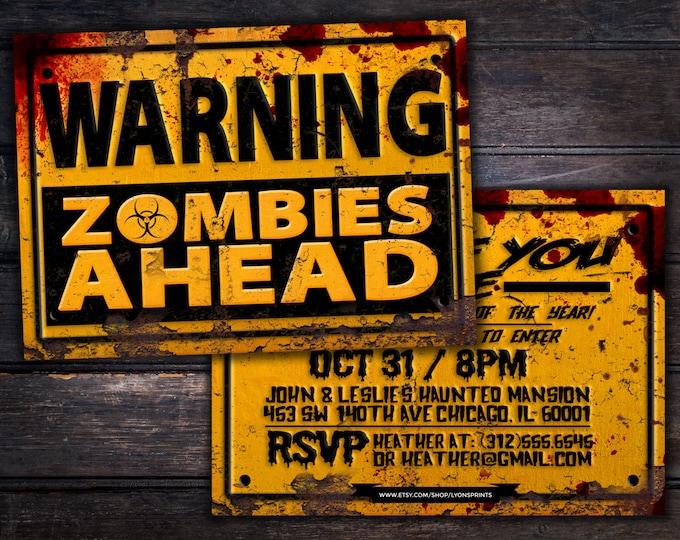Halloween invite, DIY, Spooky Halloween invitation, Halloween invites, Spooky invitations, zombie, zombie invitation, scary, walking dead