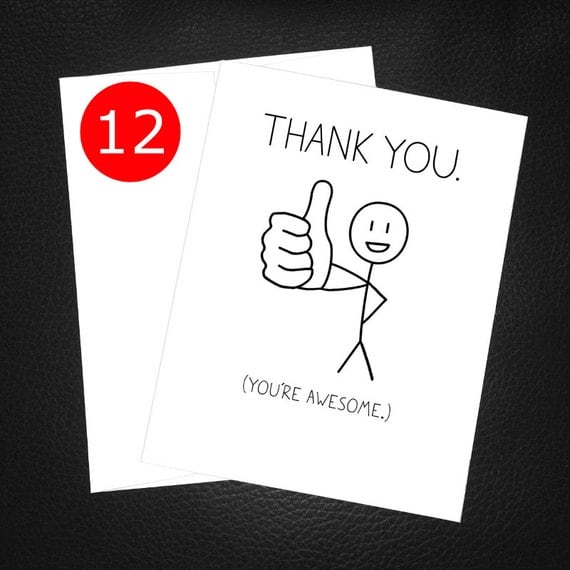Thank You Cards Set of 12 Funny Thank You Card Set Thumbs
