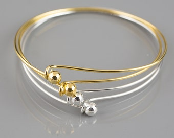 5 Pcs (Gold silver gunmetal brass) Bangle Ball and Hook Bangle Bracelet with screw on REMOVABLE BALL.  Charm Bracelet