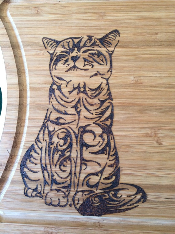 Cutting Board Wood Burned With A Cat