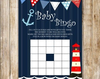 NAUTICAL BABY BINGO, Navy Blue Baby Boy Shower Games, Registry Game, Nautical Bingo Printables, Navy Anchor, Diy Printable Instant Download
