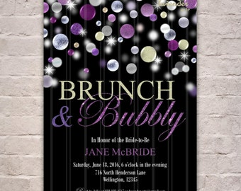 PURPLE BRUNCH & BUBBLY Bridal Shower Invitation, Champagne Bridal Brunch Invite, Purple Glitters Bridal Luncheon, Couples Shower, Sparkle