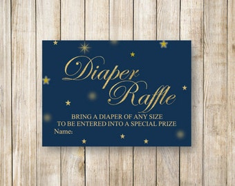 TWINKLE TWINKLE Little STAR Diaper Raffle, Gold Stars Baby Shower Diaper Raffle, Twinkle Stars Shower Game, Instant Download Diy Printable