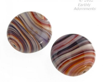 Contemporary lampwork disk made from old German and Italian glass canes,  26x10mm.  Sold individually. b1-742(e)