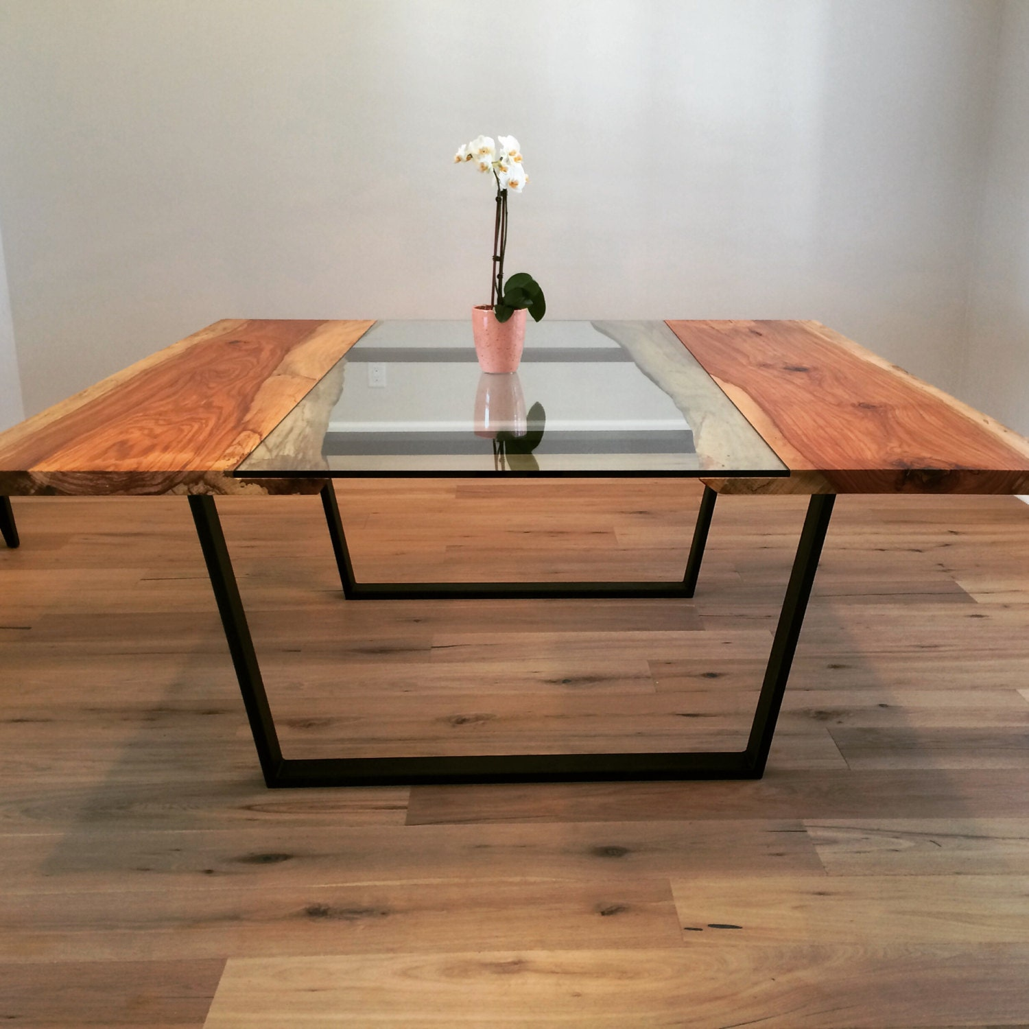 pecan glass live edge square dining table