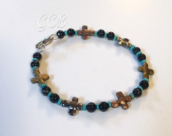 Beaded bracelet ~ Black - turquiose  ~ cross western style cross bracelet ~ outdoor wedding gifts ~ bridesmaid gifts ~ stack bracelets!