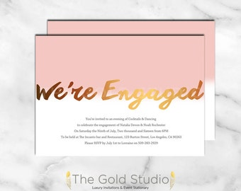 Engagement Invitation, Pink and Bronze modern Engagement Party invite, Customizable printable digital file, Jpeg, PDF