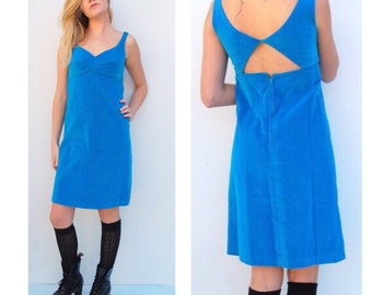 Vintage Blue Velvet Cutout Back Dress