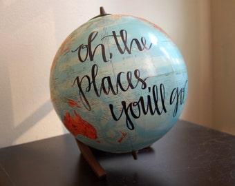 hand-lettered desk globe