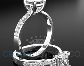 1.15 Carat F SI Diamond Engagement Ring Princess Cut Wedding Ring In 14K White Gold Women Jewelry Size 4 5 6 7 8