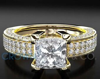 Women's Diamond Engagement Ring 18 Karat Yellow Gold 1.9 Carat D VS Princess Cut Certified Diamond Wedding Ring