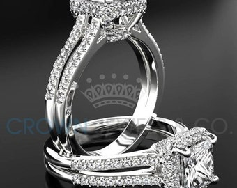 Ladies Engagement Ring 1.65 ct Princess Cut Diamond F VS Solitaire With Accents Wedding Ring In White Gold Setting