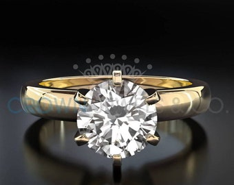 Engagement Ring Round Brilliant Cut Diamond 2 Carat H VS Solitaire Ring 14K Yellow Gold For Women