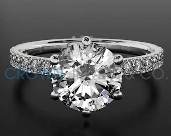 Women Round Cut Diamond Ring 18 Karat White Gold Setting Certified F SI 1.1 Carat Diamond Engagement Ring For Her