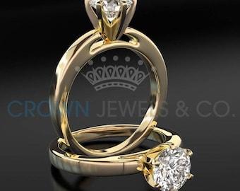 Diamond Engagement Ring 14K Yellow Gold Women Round Brilliant Cut F VVS Certified 1.00 Carat Diamond Ring