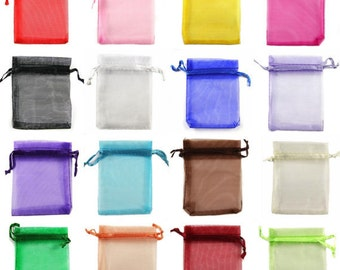 6.7 x 9 in Organza Bags. Large variety of colors. Free US Shipping included.