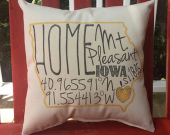 Iowa - State Pillow - Custom Pillow - Iowa Pillow - Custom Gift - Hometown Pillow - coordinates pillow - latitude longitude