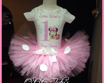 Baby Pink Minnie Mouse inspired 1st Birthday tutu Set , CakeSmash personalised Princess outfit