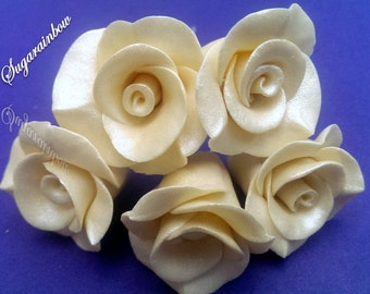 5 Edible sugar roses on wires decorations  for cake cupcake toppers