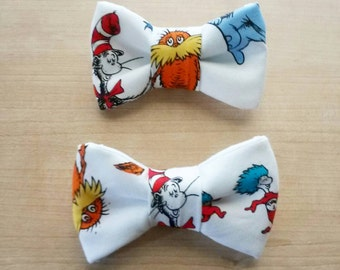 Clip on Dr. Seuss Inspired Bow tie or Hair Bow. ANY SIZE.