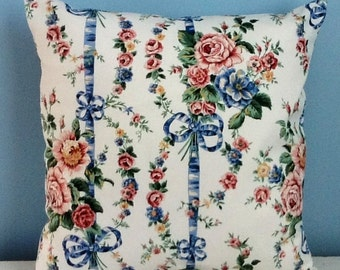 Cottage chic pillow cover, country cottage, shabby chic pillow. Pink blue white, roses decorator pillow, handmade throw pillow, toss pillow