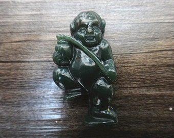 Natural green jade pendant hand-carved small warrior