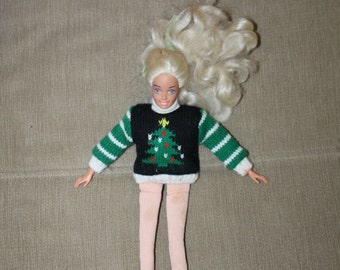 Washable Barbie w Holiday Sweater, Long Blonde Hair in a Bow, Mattel, w Soft Shoes, Christmas Tree, Barbie Doll, Doll Clothing, VERY NICE