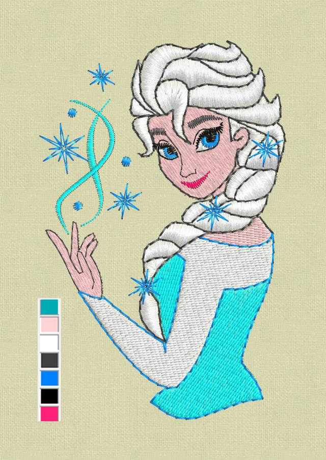 Elsa Frozen Embroidery Design Pes Jef Hus Vp3vip Dst Files
