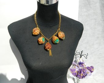 African Print Gold Chain Statement Necklace ***(Make me an offer for this item)***